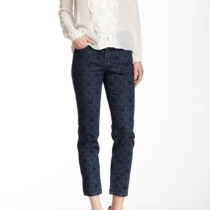 NYDJ Dark Blue Alisha Fitted Ankle Jean in Paisley